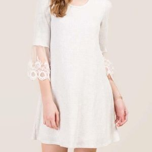 {Francesca's} Alya Lace Sleeve Waffle Knit Dress